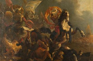 Avant restauration : Attribué à Vincent Adriaenssen Leckerbetien, dit il Manciola ou le Manchole (1595-1675) - Choc de cavalerie - Huile sur toile, 114 x 130 cm © musée des beaux-arts de Quimper / Thibault Toulemonde