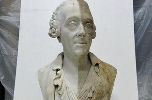 """André Brenet """"Buste de Charles Du Couedic"""" en cours de nettoyage"""