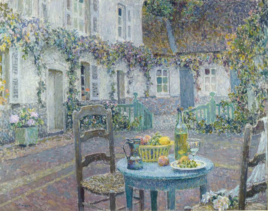 Henri Le Sidaner (1862-1939) - La Table bleue, Gerberoy, 1923 - Huile sur toile, 73 x 92 cm - Singer Laren (See the caption hereafter)