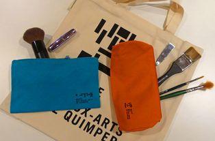 Sac et trousses réalisés pour le musée des beaux-arts de Quimper, 100 % coton bio, Doublure coton