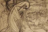 Jean Moulin (1899-1944) - Armor : paysage mauvais (dessin préparatoire), vers 1930 - Crayon sur papier, 31,8 x 29 cm © Musée des beaux-arts de Quimper