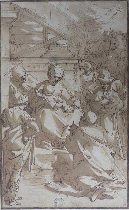 """Luca Cambiaso """"L'Adoration des mages"""", 1568-1580, dessin à la plume et encre brune, lavis brun sur esquisse à la pierre noire sur papier - Musée des beaux-arts de Quimper © Musée des beaux-arts de Quimper"""