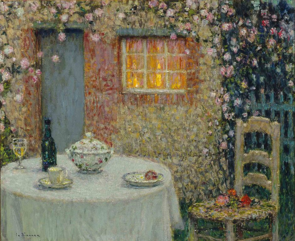 Henri Le Sidaner (1909-2007) - Petite table au pavillon, Gerberoy, 1935 - 50 x 60 cm - musée Singer Laren (See the caption hereafter)