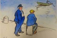 """Jacques Vaillant (1879-1934) """"Deux Hommes devant la mer"""", début du 20e siècle - Dessin au fusain et à l'aquarelle sur papier, 32 x 39.8 cm - Musée des beaux-arts de Quimper © Musée des beaux-arts de Quimper"""