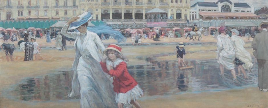 René-Xavier Prinet (1861-1946) - La plage de Cabourg, vers 1910 - Huile sur toile, 84 x 100 cm - Collection particulière © Michael Bundy (See the caption hereafter)